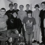 Adam Lanza, third from the right, posing for a group photo of the technology club which appeared in the Newtown High School yearbook