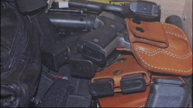 NBC 4 New York Suffolk County Police have seized an arsenal of more than 300 guns from a home around the corner from Centereach High School. It's still unclear what the homeowner was doing with all of those weapons. Greg Cergol reports.