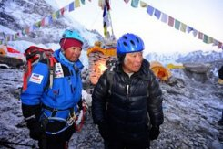 Image taken by the Miura Dolphins on May 16, 2013 shows 80-year-old Japanese mountaineer Yuichiro Miura (R) with his son Gota before his ascent of Mount Everest in Nepal. Miura has begun his ascent of Mount Everest, his website said, in a bid to become the oldest man to reach the roof of the world.