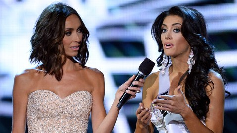 During the Miss USA pageant on Sunday, Miss Utah Marissa Powell struggled to gather her thoughts to answer a question on the issue of women continuing to earn less money than men.