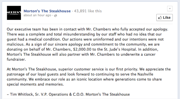 Morton's Steakhouse apologizes 2