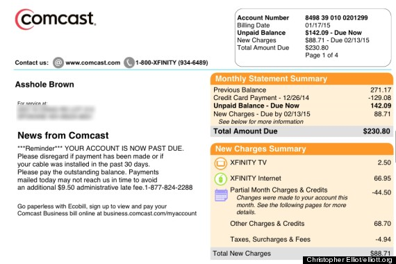 "Comcast apologizes to customer For Call Him And ""*******"" On Bill"
