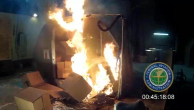 This frame grab from video, provided by the Federal Aviation Administration (FAA) shows a test at the FAAs technical center in Atlantic City, N.J. last April, where a cargo container was packed with 5,000 rechargeable lithium-ion batteries.