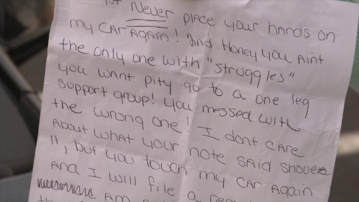 Ashley Brady Miamisburg:  Woman With One Gets Vile Note From Neighbor (PHOTO)