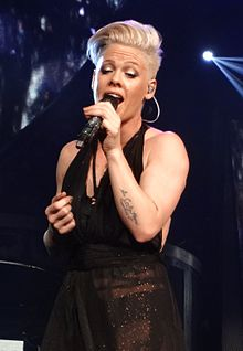 Pink performing live during Truth About Love Tour in April 2013