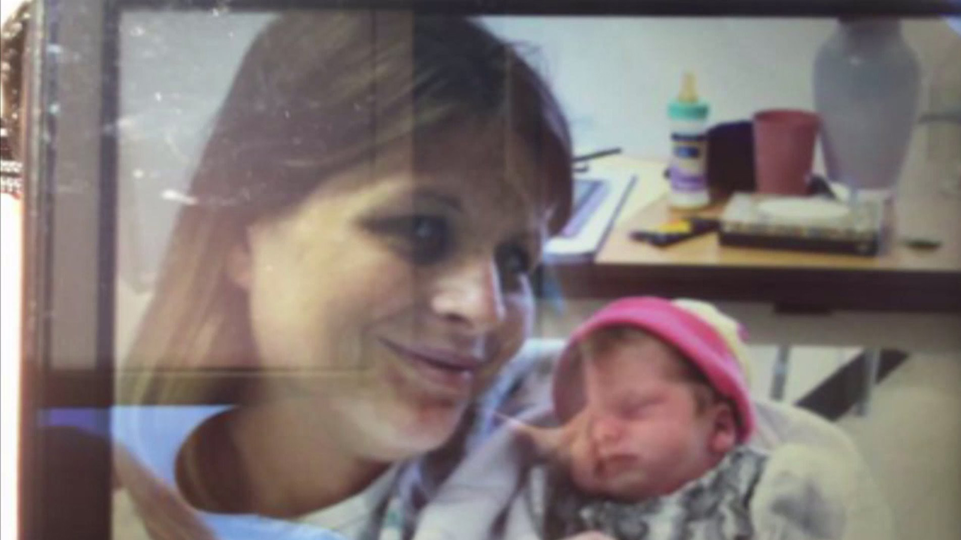 Amber Pangborn is seen here with her newborn daughter, whom she gave birth to in the Los in Plumas National Forest. (Credit: KTXL)