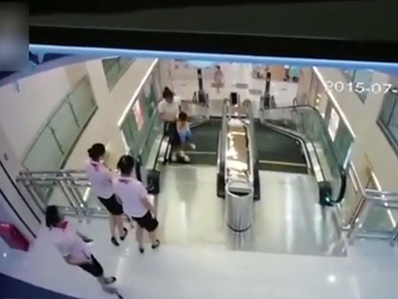 A still from footage of the fatal escalator accident in China