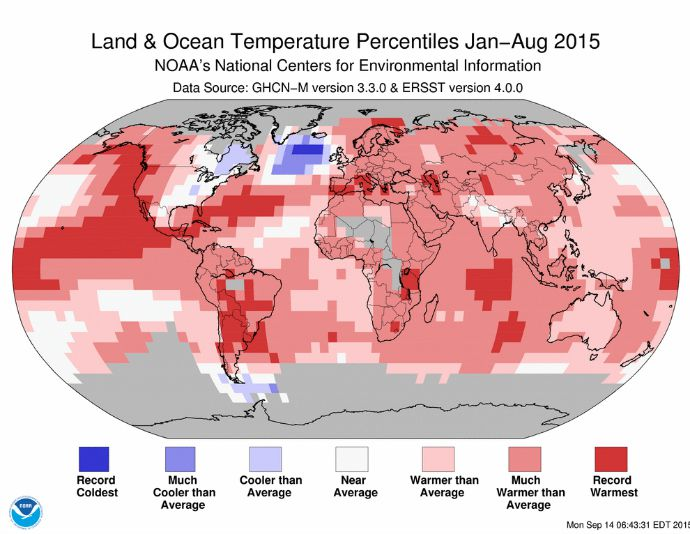 January–August 2015 Blended Land and Sea Surface Temperature Percentiles. (Photo: NOAA)