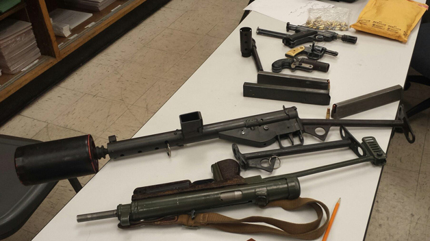 Homeless man had machine guns, silencers and pistols