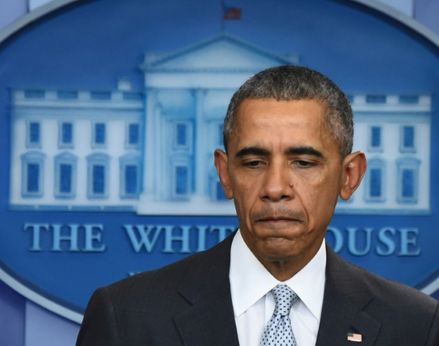 US President Barack Obama looks down as he speaks to the press in Washington, DC on November 13, 2015, after being informed about a series of deadly attacks that rocked Paris ©Jim Watson (AFP)