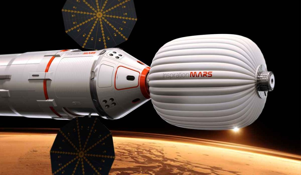 Mars capsule concept The nonprofit Inspiration Mars envisions sending humans to Mars in a modified SpaceX Dragon capsule fitted with an inflatable element.