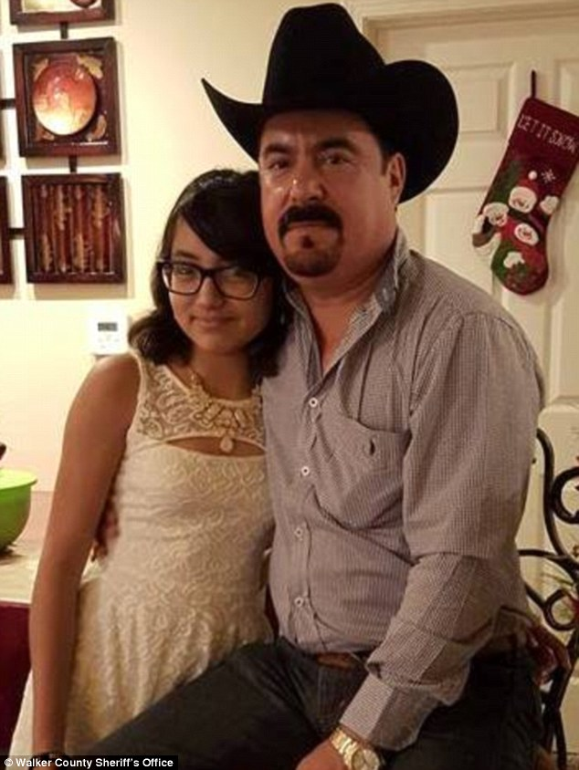 Dead: Adriana Coronado, 14 (left) was believed to have been present when her father Caesar (right) was killed in a suspected homicide. But after going missing since Sunday, her body was found Wednesday in Houston