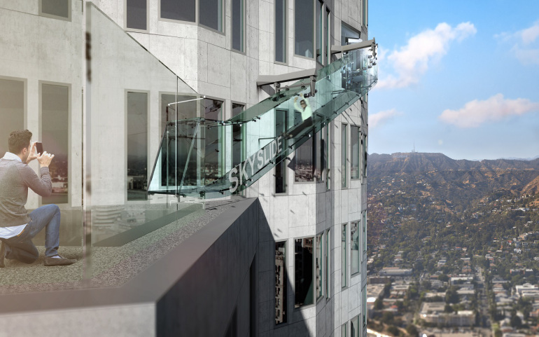 """""""Skyspace LA"""" at the U.S. Bank Tower will include a """"Skyslide,"""" shown in this rendering. The Skyslide will be 46 feet long, 4 feet wide and made of 1 1/4- inch-thick glass. (Credit: OUE Skyspace LA )"""