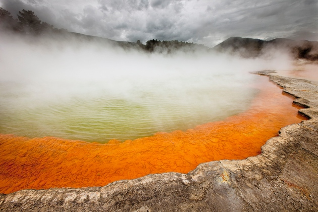 Colin Monteath/Minden/NGC Champagne Pool is a lake in Rotorua, one of New Zealand's most active volcanic regions.